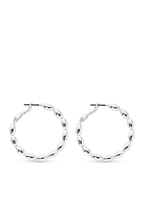 Kim Rogers® Silver-Tone Polished Oval Beaded Hoop Earrings