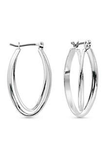 Silver-Tone Double Oval Hoop Earrings