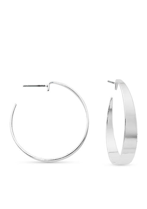 Kim Rogers® Silver-Tone Wide Polished Hoop Earrings