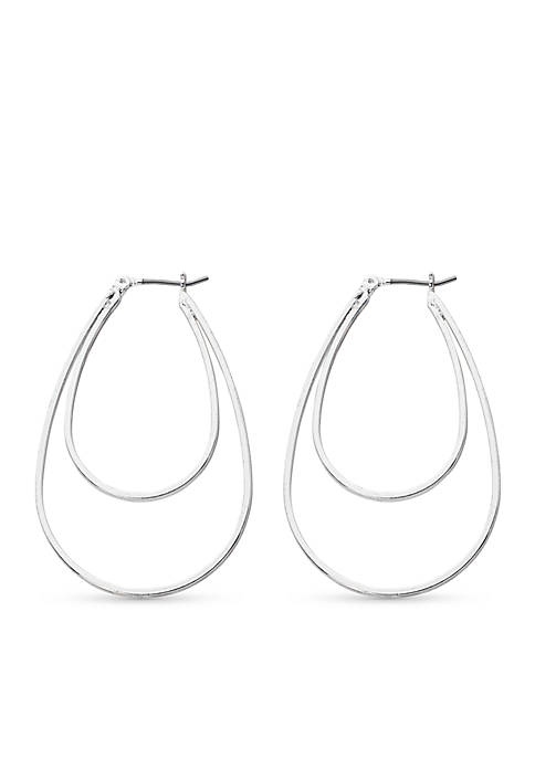 Kim Rogers® Silver-Tone Double Oval Hoop Earrings