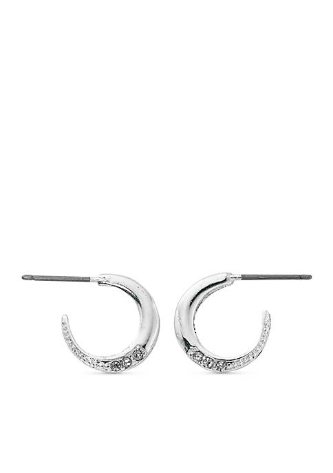 Kim Rogers® Silver-Tone Small Textured Hoop Earrings