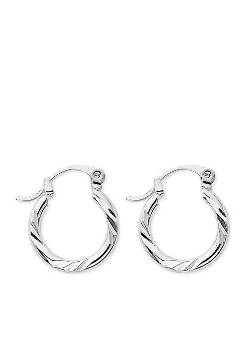 Kim Rogers® Silver-Tone Small Cut Hoop Earrings