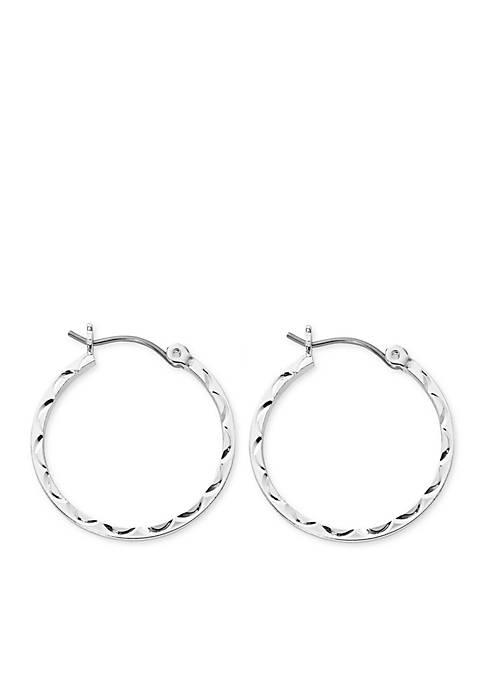 Kim Rogers® Silver-Tone Sculpted Cut Hoop Earrings