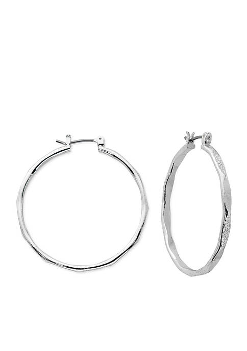 Kim Rogers® Silver-Tone Textured Polished Hoop Earrings