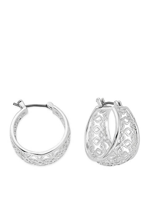 Kim Rogers® Silver-Tone Wide Filigree Hoop Earrings