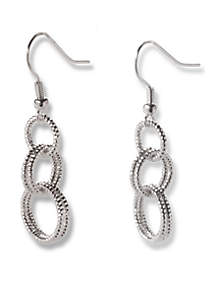 Silver-Tone Interlocked Diamond Cut Ring Drop Earrings