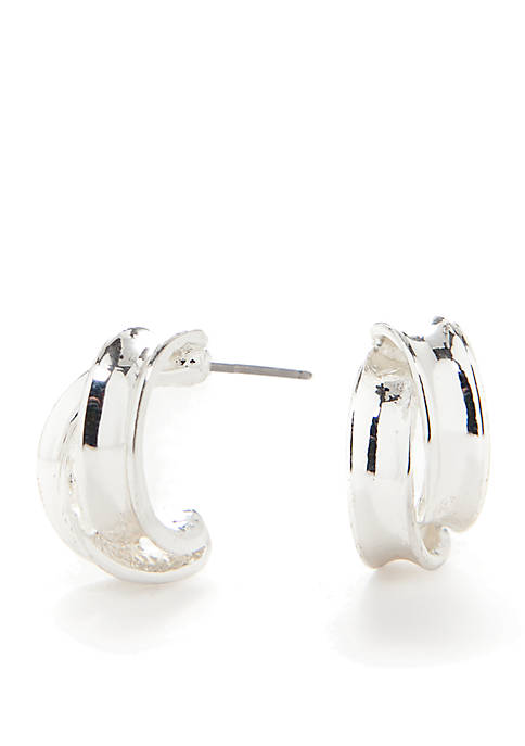 Kim Rogers® Silver-Tone Sensitive Skin Double Hoop Earrings
