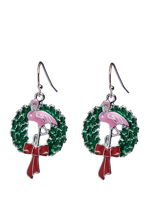Kim Rogers® Silver Tone Flamingo Wreath Earrings