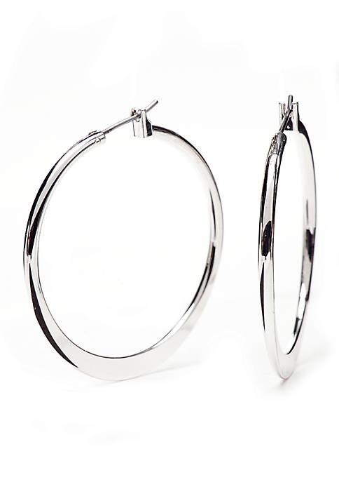 Silver Tone Sensitive Skin Classic Hoop Earrings