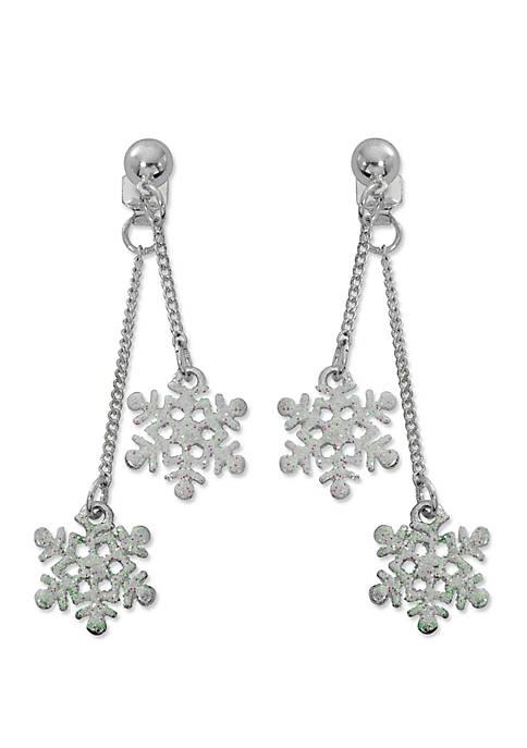 Silver Tone Snowflake Earrings