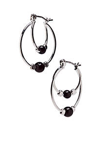 Silver Plated Double Hoop Earrings With Jet Ball Accent Center