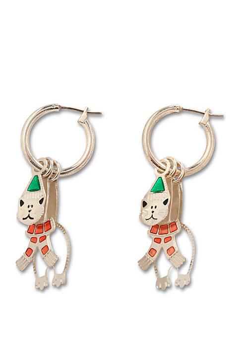 Kim Rogers® 3D Cat Hoop Earrings