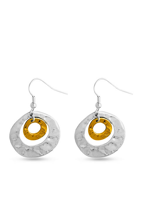 Two Tone Sensitive Skin Hammered Circles Drop Earrings