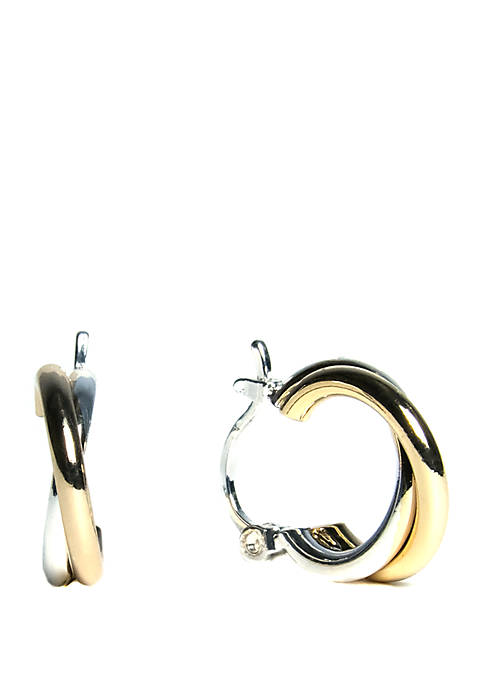 2 Tone Small Polished Interlocked Click Top Hoop Earrings