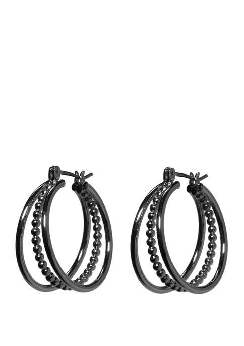 Click Bead Triple Hoop Earrings