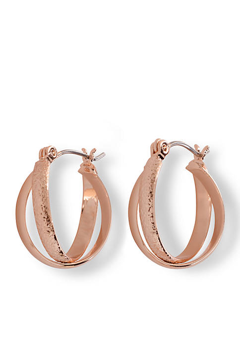 Kim Rogers® Rose Gold Tone Double Crossed Hoop
