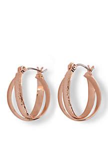 Rose Gold-Tone Double Crossed Hoop Earrings