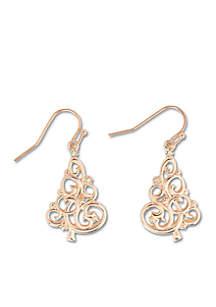 Rose Gold-Tone Crystal Swirl Tree Drop Earrings