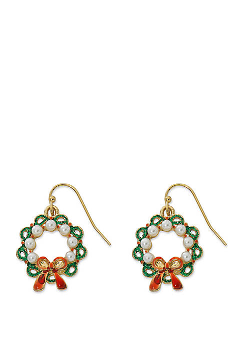 Kim Rogers® Gold Tone Wreath Earrings