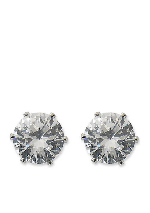 Kim Rogers® Silver-Tone Round Cubic Zirconia Stud Earrings