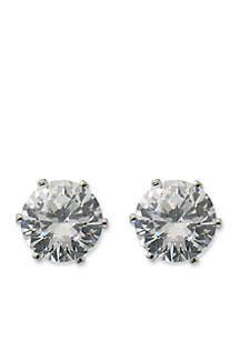 Silver-Tone Round Cubic Zirconia Stud Earrings