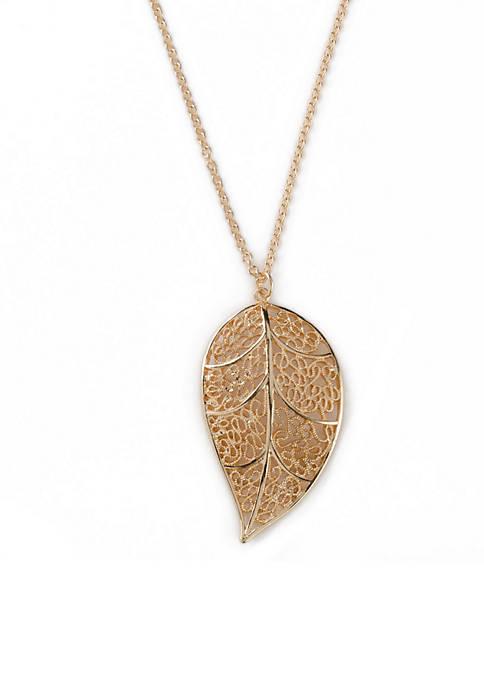 Kim Rogers® Gold Tone Leaf Pendant Necklace