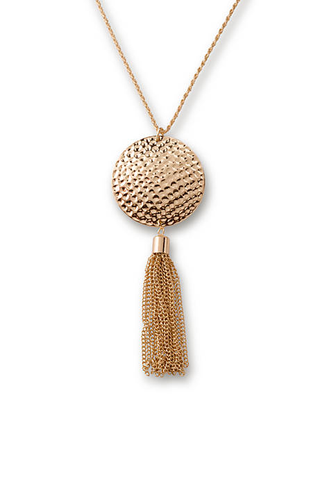 Kim Rogers® Gold-Tone Hammered Tassel Pendant Necklace