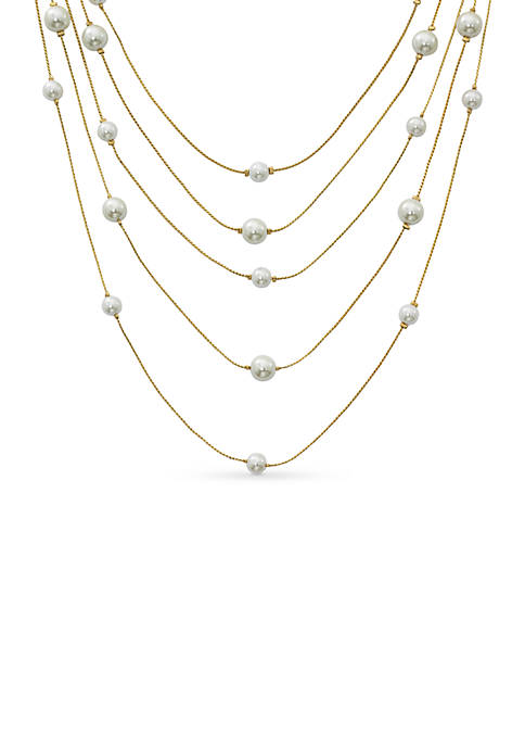Belk Gold-Tone Five Row Pearl Station Necklace