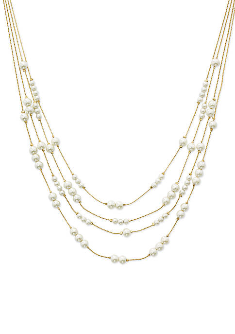 Kim Rogers® Gold-Tone Pearl Station Illusion Necklace