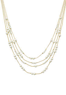 Gold-Tone Pearl Station Illusion Necklace