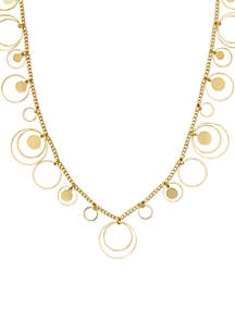 Gold-Tone Round Ring Disc Shaky Chain Necklace