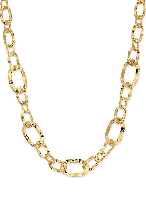 Wavy Oval Mix Link Necklace