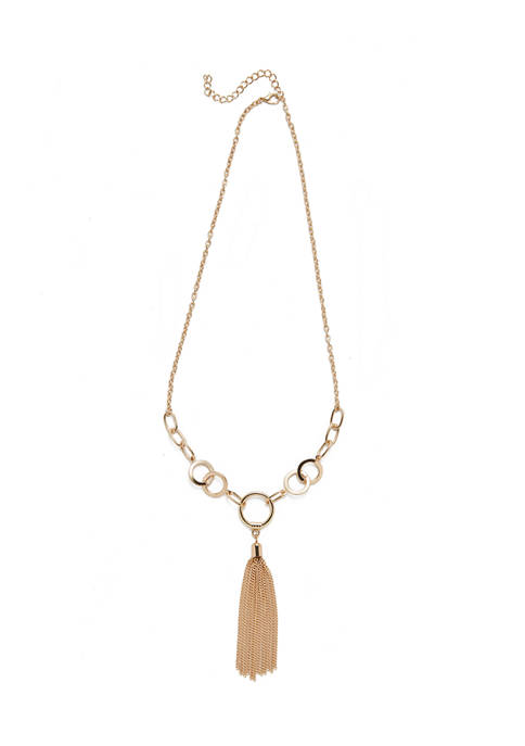 Circle Chain Tassel Necklace