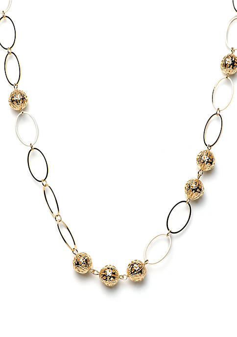Open Link Filigree Ball Station Necklace
