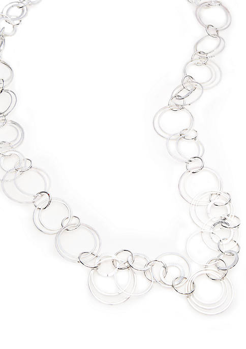 Silver Plated 32 Inch Open Link Necklace