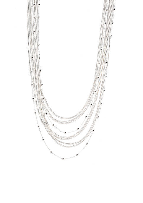 Silver Plate Fashion Station Necklace