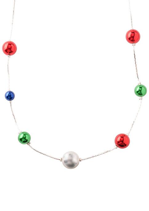 Colored Ornament Ball Necklace