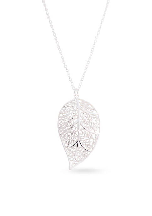 Kim Rogers® Silver Tone Cut Out Filigree Leaf
