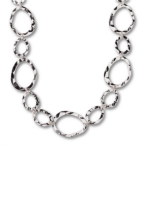 Kim Rogers® Silver Tone Hammered Ovals Chain Necklace