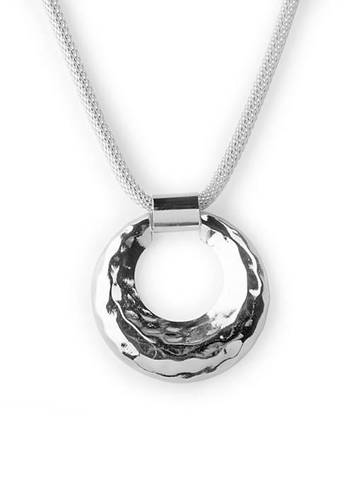 Kim Rogers® Silver-Tone Mesh Pendant Necklace