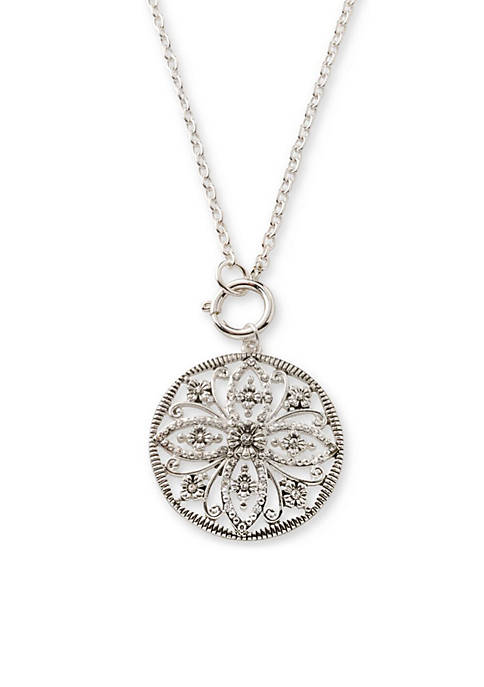 Silver-Tone Toggle Crystal Pendant Necklace