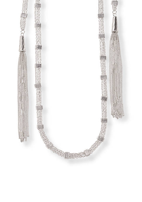 Kim Rogers® Silver-Tone Wrap Tassel Chain Extra Long