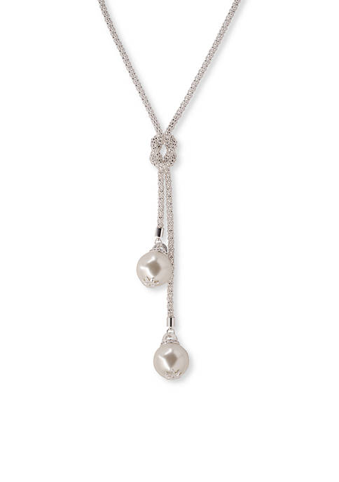 Kim Rogers® Silver Tone Double Pearl Knotted Pendant