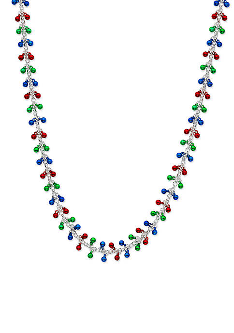 Kim Rogers® Silver-Tone Multi Colored Ball Shaky Necklace
