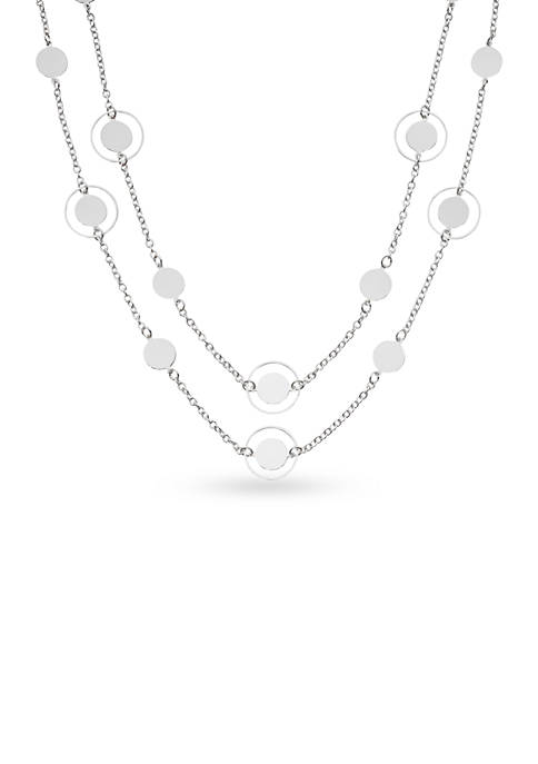 Kim Rogers® Silver-Tone Disc Station Necklace