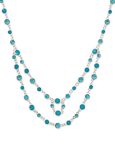 Kim Rogers® Silver-Tone Stone Double Row Strand Necklace