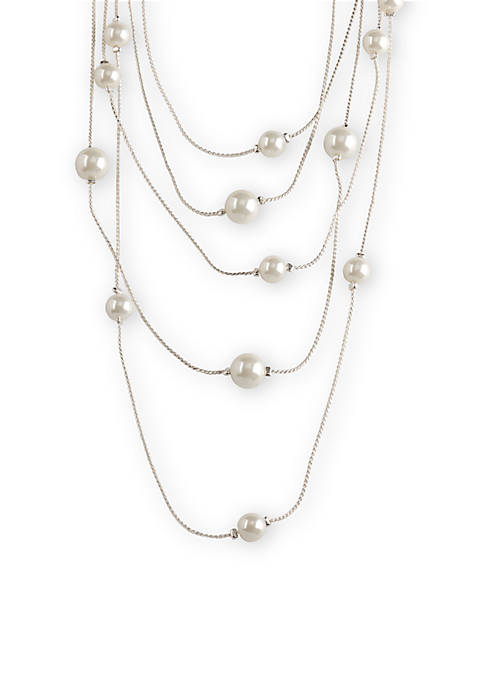 Kim Rogers® Silver-Tone Five Row Pearl Station Necklace