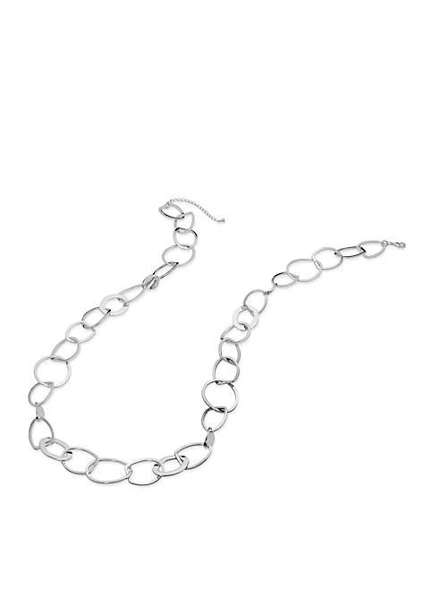 Kim Rogers® Silver-Tone Abstract Open Link Chain Necklace