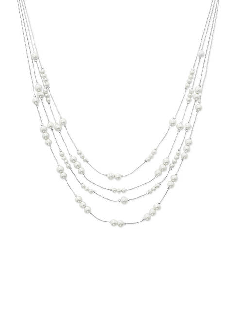 Silver-Tone Pearl Station Illusion Necklace