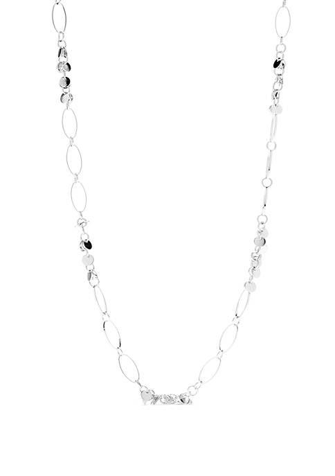 Silver-Tone Open Disc Station Necklace